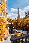 Famous Eiffel Tower Landmark And Paris Fall Street, Paris France poster