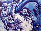 Nightmares, Frightening Dreams Or Hallucinations. Mental Health Acrylic On Canvas Surreal Illustrati poster