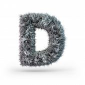 Uppercase Fluffy And Furry Gray Font. Letter D. 3d Rendering poster