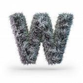 Uppercase Fluffy And Furry Gray Font. Letter W. 3d Rendering poster