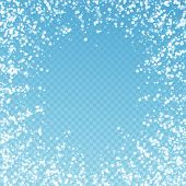 Amazing Falling Snow Christmas Background. Subtle Flying Snow Flakes And Stars On Blue Transparent B poster