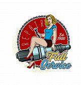 Spark Plug Pin Up Girl. Vintage Garage Girl. poster