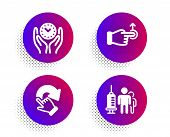 Safe Time, Drag Drop And Rotation Gesture Icons Simple Set. Halftone Dots Button. Medical Vaccinatio poster