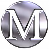 stock photo of letter m  - 3d silver letter M isolated in white - JPG