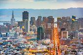 San Francisco, California, USA downtown skyline at dawn. poster