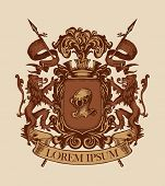 Vector Heraldic Coat Of Arms In Vintage Style With Shield, Knightly Armor, Spears, Crown, Lions, Rib poster
