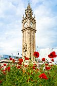 Little Big Ben In Belfast, Albert Memorial Clock Tower On Sunny Day With Blue Sky. poster
