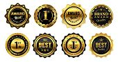 Golden Winner Badges. Retro Gold Quality Stamp, Exclusive Circle Badge And Heraldic Award. Sport Com poster