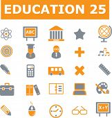 25 education and school vector signs - orange series. see more in my portfolio