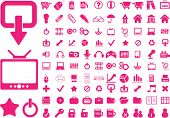 100 red icons. vector. visit my portfolio for more icons
