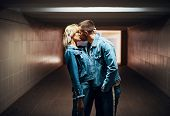 Sensual Couple Kissing In Underground Crossing. Love, Romantic, Passion Concept poster
