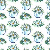 Watercolor Seamless Pattern Of Glass Vase With Flower Bouquet Inside On A White Background. Watercol poster