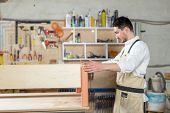 Furniture Factory, Small-sized Companies, Business Concept - Man Worker At The Furniture Production poster