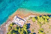 Dugi Otok Island Historic Villa Rustica Ruins Aerial View, Kornati Archipelago Of Croatia poster