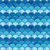 Mermaid Fish Scale Wave Japanese Magic Seamless Pattern. Watercolor Hand Drawn Blue Teal Color Backg poster