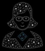 Flare Mesh Teacher Lady With Glare Effect. Abstract Illuminated Model Of Teacher Lady Icon. Shiny Wi poster