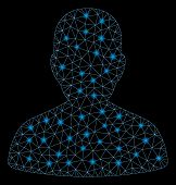 Glossy Mesh User Account With Glitter Effect. Abstract Illuminated Model Of User Account Icon. Shiny poster
