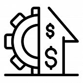 Gear Money Investor Icon. Outline Gear Money Investor Vector Icon For Web Design Isolated On White B poster