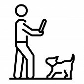 Dog Waiting Wood Stick Icon. Outline Dog Waiting Wood Stick Vector Icon For Web Design Isolated On W poster