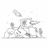 Garbage At The Bottom Of The Sea. Past The Broken Tv Fish Swim. Environmental Protection. Zero Waste poster