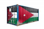 The Concept Of  Jordan Export-import, Container Transporting And National Delivery Of Goods. The Tra poster