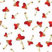 Fly Mushroom Pattern On White Background. Red Spotted Poisonous Mushroom. Forest Poisonous Red Mushr poster