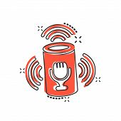 Voice Assistant Icon In Comic Style. Smart Home Assist Vector Cartoon Illustration On White Isolated poster
