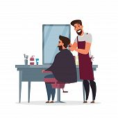 Barber Shop, Hairdressing Room Flat Illustration. Professional Stylist In Apron And Client In Armcha poster