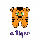 Cute Cartoon Little Tiger Cub With The Inscription: I Am A Tiger. Vector Cartoon Style Illustration  poster