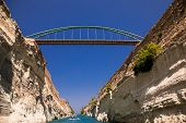 Footbridge Of The Corinth Canal, Greece. The Corinth Canal Connects The Gulf Of Corinth With The Sar poster