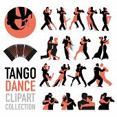 Tango Dance Clipart Collection. Set Of Couples Of Tango Dancers Isolated On White Background. poster