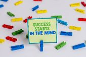 Conceptual Hand Writing Showing Success Starts In The Mind. Business Photo Showcasing Set Your Mind  poster