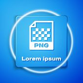 White Png File Document. Download Png Button Icon Isolated On Blue Background. Png File Symbol. Blue poster