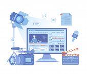 Video Production, Recording, Videography, Blogging. Design Tv News Studio. Сamera, Microphone, Clapp poster