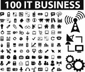 100 it & Business Icons, Vektor