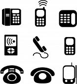 phones icons, signs, vector illustations
