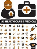 50 health care & medical icons, signs, vector illustrations