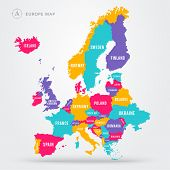 Vector Illustration Political Map Of Europe. European Continent In Four Colors With Country Name Lab poster