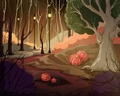 Creepy Forest Landscape With Trees, Swamp, Lanterns And Pumpkins. Mysterious Scenery Background. Vec poster