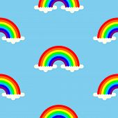 Rainbow Pattern With White Clouds And Rainbow On Blue Background. Colorful Seamless Pattern. Vector  poster