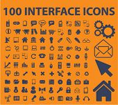 100 interface icons, signs, vector illustrations