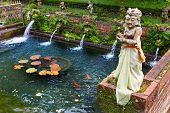 Gunung Kawi Sebatu Hindu Temple With Holy Water Natural Spring, Pools With Fish And Statues In Tradi poster