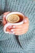 Drink tea relax cosy photo. Female hands holding mug of hot tea with lemon in morning. Young woman r poster