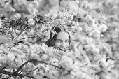 Lost In Blossom. Girl Enjoying Cherry Blossom Sakura. Cute Child Enjoy Warm Spring Day. Tender Bloom poster