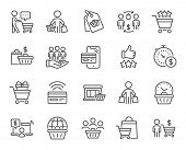 Buyer Customer Line Icons. Contactless Payment Card, Shopping Cart And Group Of People. Store, Buyer poster