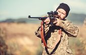 Hunting Permit. Man Brutal Gamekeeper Nature Background. Bearded Hunter Spend Leisure Hunting. Hunte poster