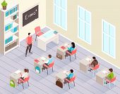 School Classroom Isometric Background With Pupils Sitting At Desks And Listen Teacher Standing Near  poster