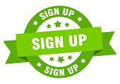 Sign Up Ribbon. Sign Up Round Green Sign. Sign Up poster