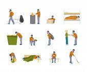 Homeless Man Flat Illustration Set. Vector Character Sleeping On Park Bench. Refugee Asking Help, Be poster