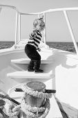 Boy Sailor Striped Shirt Sea Yacht Travel Around World. Little Sea Traveller. Beach Is Calling And W poster